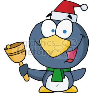 cartoon penguin wearing a Santa hat clipart. Commercial use image # 377773