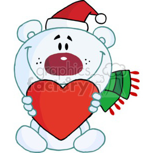 cartoon teddy bear wearing a Santa hat and Scraf clipart. Royalty-free image # 377775