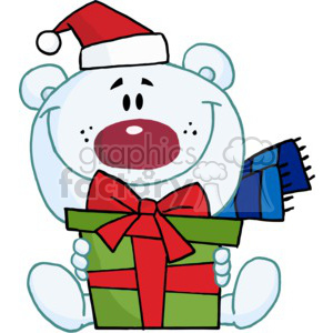 teddy bear holding a Christmas present wearing a Santa Hat