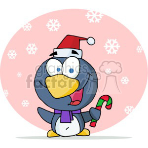 penguin holding a candy cane