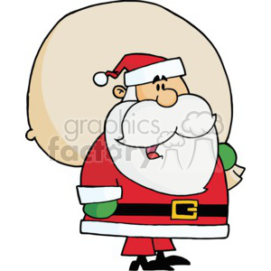 cartoon Santa Claus holding a bag of gifts
