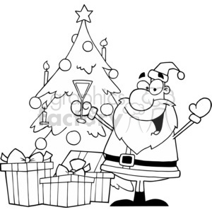 black and white Santa putting gifts under the tree clipart. Commercial use image # 377785