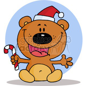 happy teddy bear holding a candy cane
