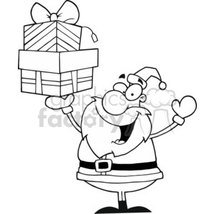 black and white Santa holding gifts