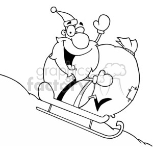 black and white Santa riding a sled clipart. Commercial use image # 377791