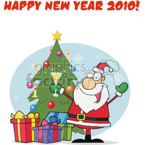 Christmas xmas Happy New Year 2010 cheers celebration presents tree gifts happy funny cartoon Holidays santa claus Saint nick
