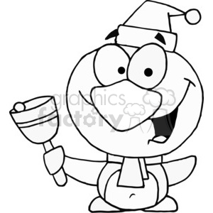 Penguin ringing a Christmas bell clipart. Royalty-free image # 377795