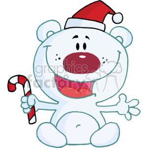 Polar Bear in a sant hat and holding a candy cane clipart. Royalty-free image # 377797