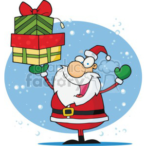 cartoon Santa holding Christmas gifts
