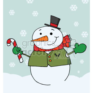A snowman in a top hat ,vest  and mitten holding a red and white candy cane clipart. Royalty-free image # 377801