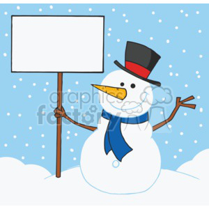 snowman holding a sign wearing a blue scarf and a top hat