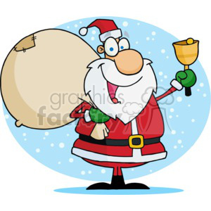Santa holding a big bag of Christmas gifts and ringing a golden bell clipart. Commercial use image # 377805