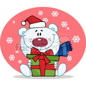 a white bear with a gift that put a smile on his face clipart. Commercial use image # 377848