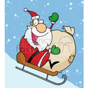 Santa on a sled with a bag of toys going down a hill clipart. Royalty-free image # 377850