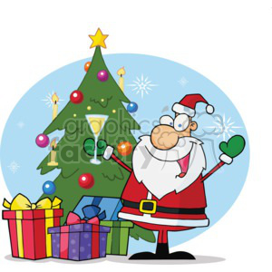 Santa standing in front of a christmas tree with present around it drinking eggnog