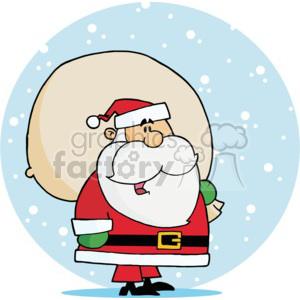 Santa standing the snow with a bag of gifts