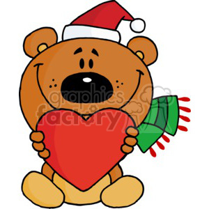 a brown bear holding a red heart clipart. Commercial use image # 377860