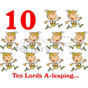 On the 10th day of Christmas my true love gave to me Ten Lords A-leaping  clipart. Commercial use image # 377861