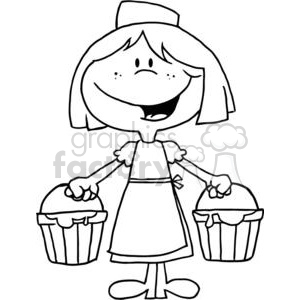 black and white maid a milking clipart. Commercial use image # 377881