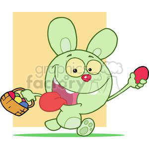 Crazy Green Easter Bunny running with basket of colored eggs and one red egg in hand