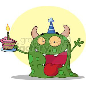 spotted green monster with horns wearing a blue party hat holding heart shaped birthday cake with candle