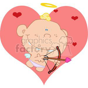 Cupid with bow and arrow in front of a big pink heart