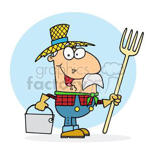 clipart RF Royalty-Free Illustration Cartoon funny character farmer farmers farm country guy guys funny pitchfork