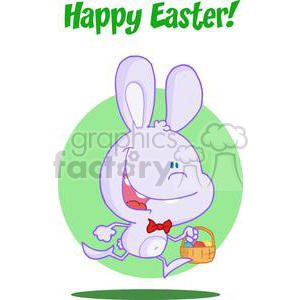 Happy Light Purple Bunny Running with Easter Eggs In a Basket
