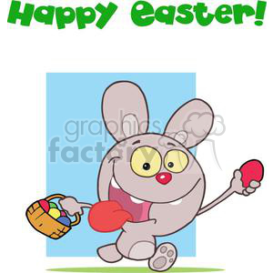 Brown Whacky Bunny Carrying a Backet full of Easter Eggs In Front of a Blue Background clipart. Commercial use image # 377960