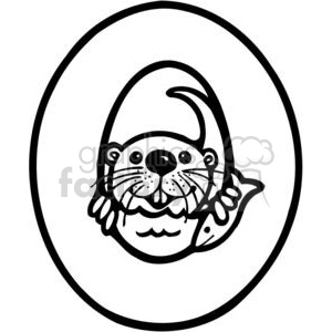 cartoon black white letter o otter
