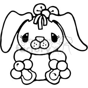 cartoon black white little rabbit bunny bunnies Easter cute