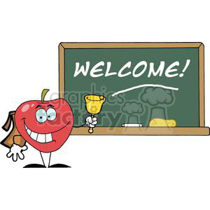 2878-Apple-Ringing-A-Bell-In-Front-A-School-Chalk-Board clipart. Commercial use image # 380278