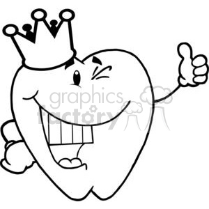 2973-Smiling-Tooth-Cartoon-Character-With-Golden-Crown clipart. Commercial use image # 380303