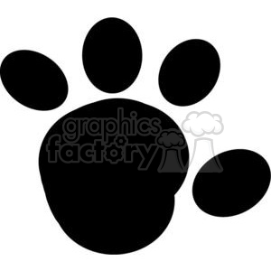 2777-Cartoon-Paw-Print-Silhouette clipart. Commercial use image # 380318