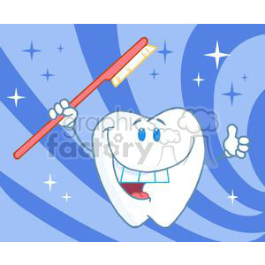 2934-Happy-Smiling-Tooth-With-Toothbrush clipart. Royalty-free image # 380323