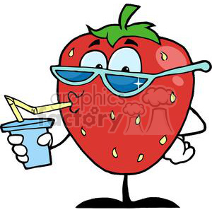 cartoon strawberry character drinking a soda