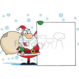 3018-Christmas-Santa-Clause-Presenting-A-Blank-Sign clipart. Commercial use image # 380353