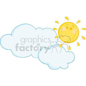 2732-Smiling-Sun-Behind-Cloud-Cartoon-Character clipart. Royalty-free image # 380388