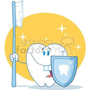 2922-Happy-Smiling-Tooth-With-Toothbrush-And-Shield clipart. Royalty-free image # 380413