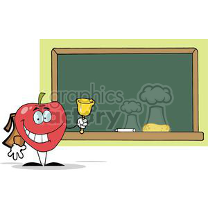 2877-Apple-Ringing-A-Bell-In-Front-A-School-Chalk-Board clipart. Commercial use image # 380423