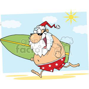 2847-Cartoon-Santa-Surfer-On-The-Beach clipart. Commercial use image # 380428
