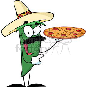 2892-Sombrero-Chile-Pepper-Holds-Up-Pizza clipart. Royalty-free image # 380433