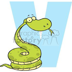 Cartoon viper snake next to big letter V