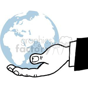 2817-Bussines-Hand-Holding-Globe clipart. Royalty-free image # 380463