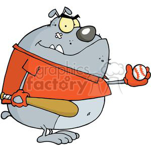 Bulldog baseball player clipart. Royalty-free image # 380488