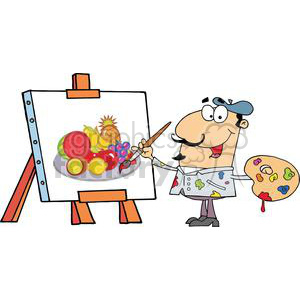Painter Paint On A Canvas Fruits clipart. Commercial use image # 380498