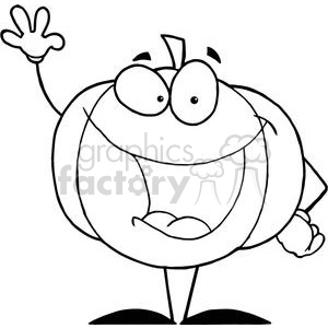 2882-Happy-Pumpkin-Waving-A-Greeting clipart. Royalty-free image # 380513