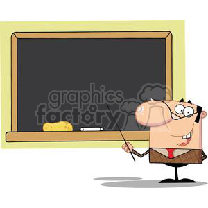 2988-School-Teacher-With-A-Pointer-Displayed-On-Chalk-Board clipart. Royalty-free image # 380533