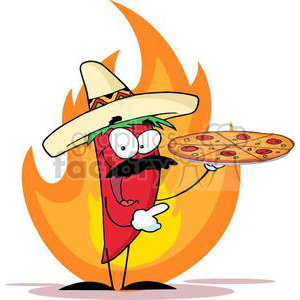2894-Sombrero-Chile-Pepper-Holds-Up-Pizza clipart. Royalty-free image # 380538