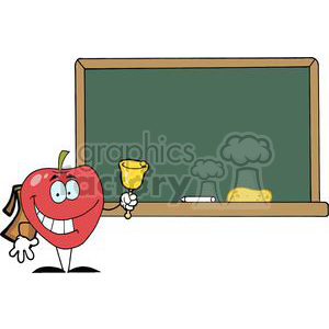 2876-Apple-Ringing-A-Bell-In-Front-A-School-Chalk-Board clipart. Commercial use image # 380558